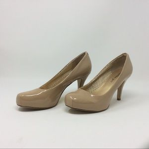 Madden Girl taupe patent pumps